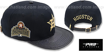 Astros 'METALLIC POP STRAPBACK' Black Hat by Pro Standard